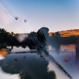 Brian Ball - Great Reno Balloon Race Double Exposure and Reflection of Ducks and Balloons in Pond at Sunrise