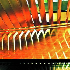 Bonnie See - Green and Orange Slats Abstract
