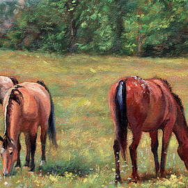 Bonnie Mason - Green Pastures - Horses Grazing in a Field