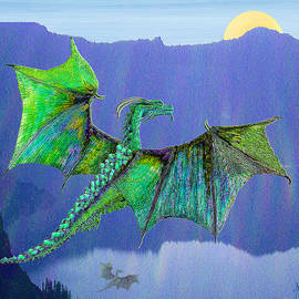 Michele  Avanti - Green Water Crystal Soaring Celtic Dragon