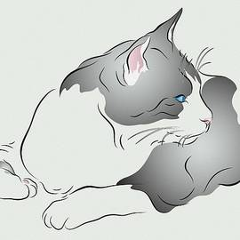 MM Anderson - Grey and White Cat in Profile Graphic