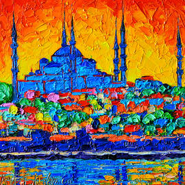 Ana Maria Edulescu - Hagia Sophia At Sunset Istanbul Abstract Cityscape Palette Knife Oil Painting By Ana Maria Edulescu