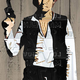 Han Solo Vintage Recycled Metal License Plate Art Portrait on Barn Wood - Design Turnpike