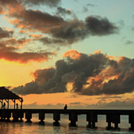 James Eddy - Hanalei Pier Sunset Panorama