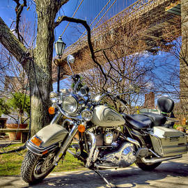 Geraldine Scull   - Harley Davidson and Brooklyn Bridge