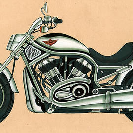 A K Mundra - Harley - Davidson Old Byke Antique Vintage, Artwork India, Miniature Painting, Watercolor Painting.