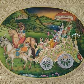 Sachin Sharma - Hindu God Krishna Radha ISCON  Love Gift Print