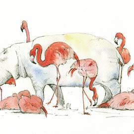 Hippo and flamingos - Juan Bosco