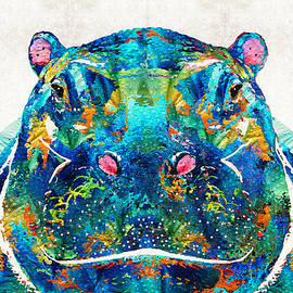 Sharon Cummings - Hippopotamus Art - Happy Hippo - By Sharon Cummings