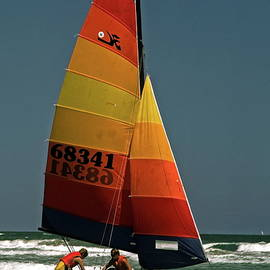 Sally Weigand - Hobie Cat in Surf