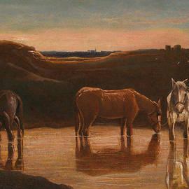 Horses at the Ford - Giovanni Segantini