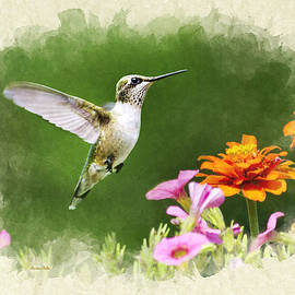 Christina Rollo - Hummingbird Flying with Flowers Blank Note Card