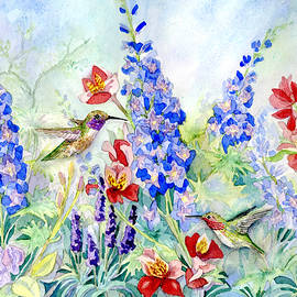 Hummingbird Garden in Spring - Audrey Jeanne Roberts