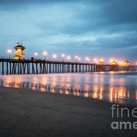 Huntington Beach Pier Night Storm Clouds - Paul Velgos