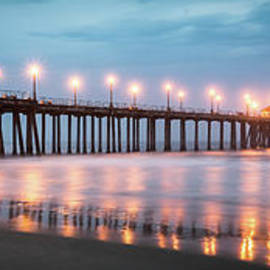 Huntington Beach Pier Stormy Night Panorama - Paul Velgos