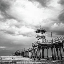 Huntington Pier Storm Clouds Black and White Photo - Paul Velgos