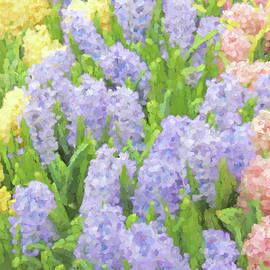 Jennie Marie Schell - Hyacinth Flowers in the Spring Garden