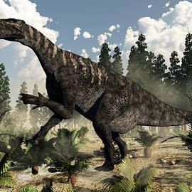 Elenarts - Elena Duvernay Digital Art - Iguanodon roaring - 3D render