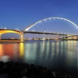 Merijn Van der Vliet - Illuminated bridge De Oversteek in Nijmegen across the Waal River