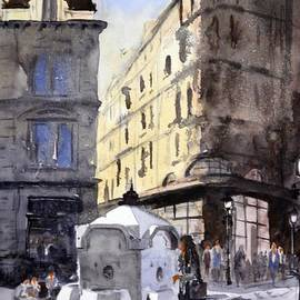Nenad Kojic - Immense mans drinking fountain - original watercolour cityscape painting by Nenad Kojic