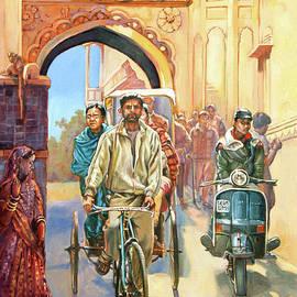 Dominique Amendola - India street scene with a bicycle rickshaw