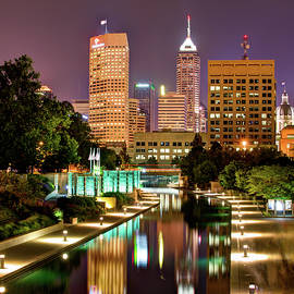 Gregory Ballos - Indianapolis Indiana Skyline and Canal Walk at Night