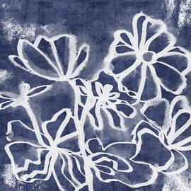 Indigo Floral 3- Art by Linda Woods - Linda Woods