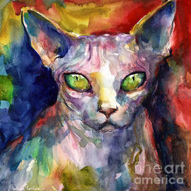 intense watercolor Sphinx cat painting - Svetlana Novikova