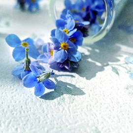 Alison Burford - Forget me nots tumbling out of a glass vial
