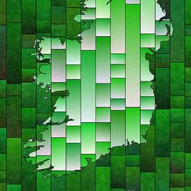 Eleven Corners - Ireland Map Glasa in Green and White
