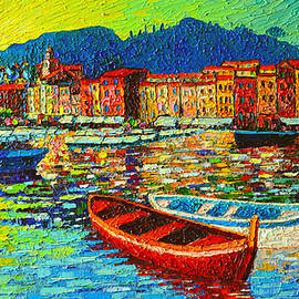 Ana Maria Edulescu - Italy Portofino Harbor Sunrise Modern Impressionist Palette Knife Oil Painting By Ana Maria Edulescu
