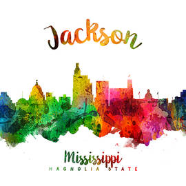 Jackson Mississippi Skyline 24 - Aged Pixel