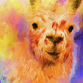 Jai Johnson - Jazzy Llama Colorful Animal Art by Jai Johnson
