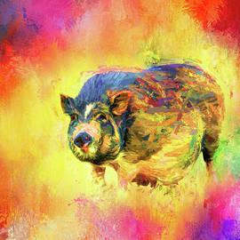 Jai Johnson - Jazzy Pig Colorful Animal Art by Jai Johnson