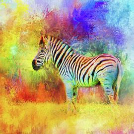 Jai Johnson - Jazzy Zebra Colorful Animal Art by Jai Johnson