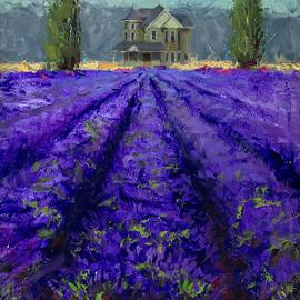 Karen Whitworth - Just Beyond Plein Air Lavender Landscape