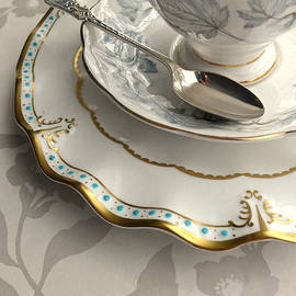 Alison Burford - Fine Bone China Cup And Saucer And Silver Spoon With Tea