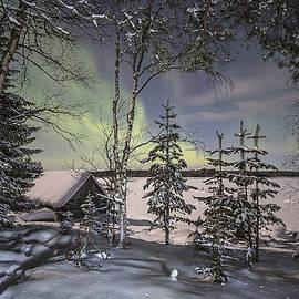 Evgeny Govorov - Karelian village under Aurora light