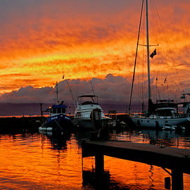 Nature  Photographer - Ke Ahi - Means like fire in Hawaiian - Intense Orange Sunset at Lahaina Harbor