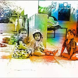 Sue Jacobi - Kids in Front Yard Indian Village Rajasthani 2a