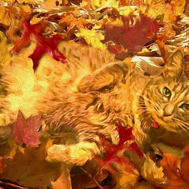 Theresa Campbell - Kitty In Fall Leaves