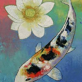 Koi and White Lotus - Michael Creese