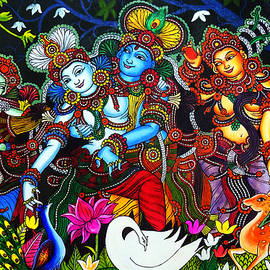 Arun Sivaprasad - Krishna And Radha Mural Dance Art