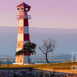 Silvio Ligutti - Lake Buchanan Lighthouse in Golden Hour Sunset Light - Texas Hill Country