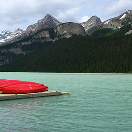 Christiane Schulze Art And Photography - Lake Louise Red Canoes