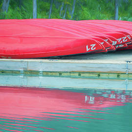 Joan Carroll - Lake Louise Red Canoes Painterly