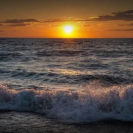 Randall Nyhof - Lake Michigan Sunset with crashing shore waves