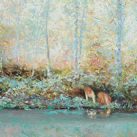 Jan Matson - Landscape Painting - Looking for tadpoles