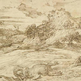Landscape with St. Theodore Overcoming the Dragon - Titian