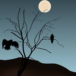 David Gordon - Landscape with Tree Vultures and Moon